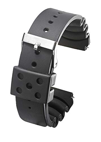 Heavy Duty Black Rubber Watch Band for Diver Watches for Wider Wrist ONLY (Fits Wrist Sizes 7 1/2 to 9 inch) - 22XL, ()
