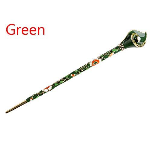 - Crystal Metal Barrette Hair Stick Rhinestone Hairpin Chopsticks (color - green)