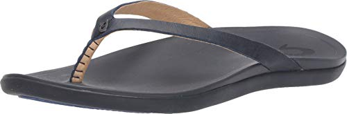 OLUKAI Women's Ho'Opio Sandal, Navy/Trench Blue, 8 M US