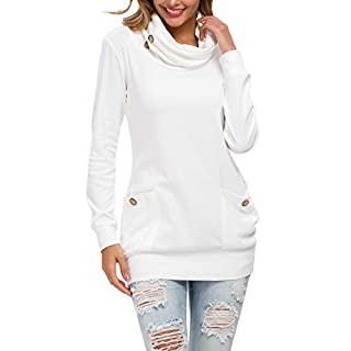 levaca Womens Fall Long Sleeve Pullover Sweaters Tunic Tops Oversized White XXL