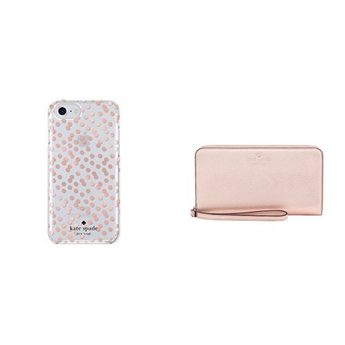 kate spade new york Protective Hardshell Case for iPhone 7 - Rose Gold and Wallet Case for Universal/Smartphones - Saffiano Rose Gold Bundle by Kate Spade New York (Image #1)