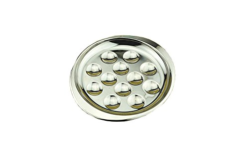 Stainless Steel Snail Mushroom Escargot Plate Dishes 12 Compartment Holes Pack of 2 (Escargot Stainless Steel)
