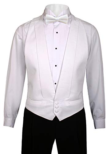 - Guytalk Mens White Pique Vest with Matching Bow Tie