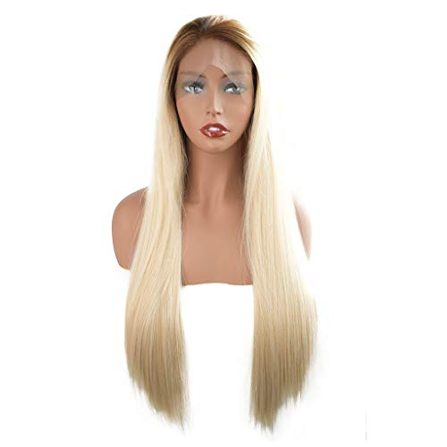 JYS Long Straight Ash Blonde Wigs for Women Ladies Synthetic Full Hair Natural Light Honey Strawberry Gold Wig with Bangs for Cosplay Costume or Daily Life (Gold) -