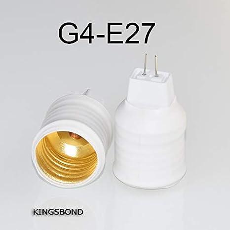 Kamas - 10 adaptadores G4 G5.3 a E27, base de plástico ...