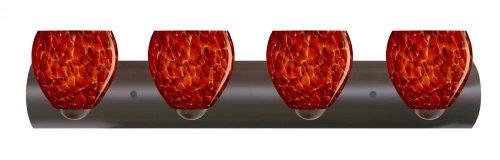 Besa Lighting 4WZ-412241-LED-BR 4X6W Gu24 Led Bolla Wall Sconce with Garnet Glass, Bronze Finish