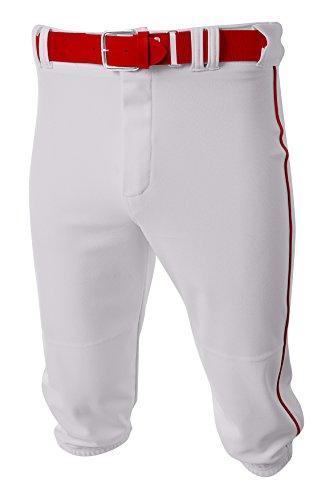 A4 Mens Baseball Knicker Pant, Medium, White Scarlet
