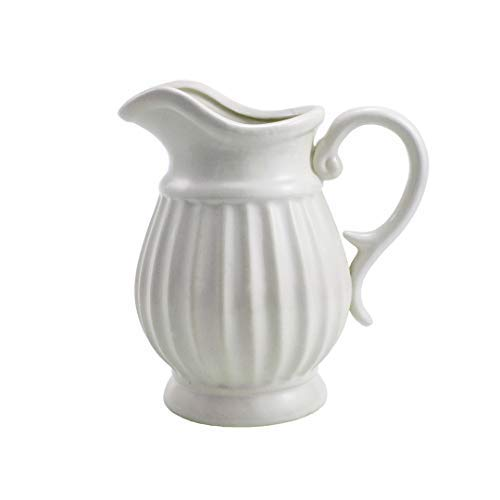 - D'vine Dev 9 Inches Decorative Pitcher White Ceramic Flower Vase for Flower Bouquet