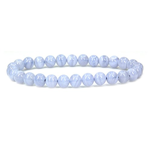 (Natural A Grade Blue Lace Agate Gemstone 6mm Round Beads Stretch Bracelet 7
