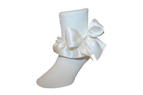Price comparison product image Ruffle Socks Satin & Lace Assorted Colors Ankle Length for Baby to Girls (7-8.5 Girls, Ivory)