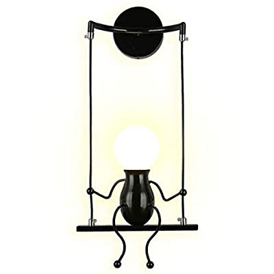 SOUTHPO LED Wall Light Fixtures Indoor Creative Cartoon Little People Mini Wall Sconces Lighting Modern Metal Bedside Lamps Bedrooms Decor Doll Adjustable Swing Wall Lamp Gift