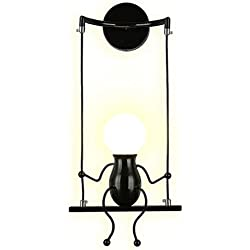 SOUTHPO LED Wall Light Fixtures Indoor Creative Cartoon Little People Mini Wall Sconces Lighting Modern Metal Bedside Lamps for Bedrooms Decor Doll Adjustable Swing Wall Lamp Gift 1×E26 MAX 40W Black