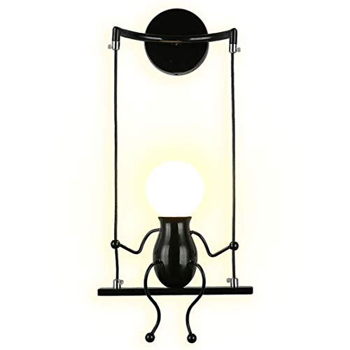SOUTHPO LED Wall Light Fixtures Indoor Creative Cartoon Little People Mini Wall Sconces Lighting Modern Metal Bedside Lamps for Bedrooms Decor Doll Adjustable Swing Wall Lamp Gift 1×E26 MAX 40W Black ()