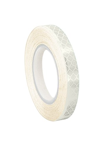 3M 3430 White Micro Prismatic Sheeting Reflective Tape - 0.25 in. X 15 ft. Non Metalized Adhesive Tape Roll. Safety Tape ()