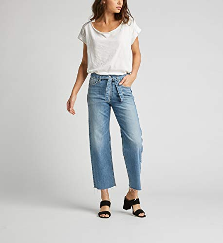 Silver Jeans Co. Women's Tied High Rise Wide Leg Crop, Medium Indigo Destroyed, 31x26 (Tied Jeans)