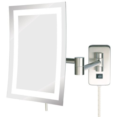 Inch by 9-Inch LED Lighted Wall Mount Rectangular Makeup Mirror, Nickel Finish ()