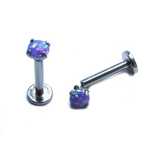 NewkeepsR 16G 3/8''(10mm) 4 Claw Internally Threaded G23 Titanium Synthetic Lavander Opal Top Labret Monroe Tragus Helix Earring Stud ()