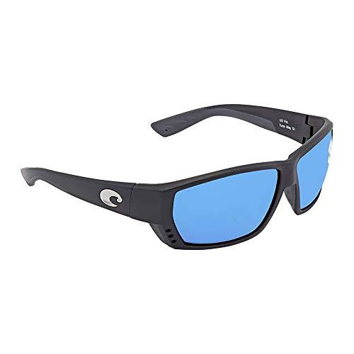 Costa Del Mar Tuna Alley Sunglasses, Matte Black, Blue Mirror 580 Glass ()