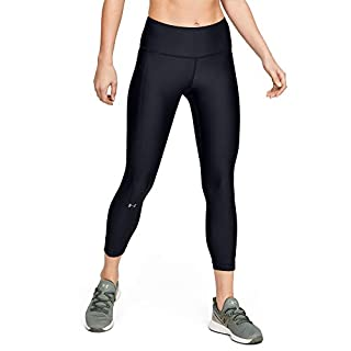 Under Armour Women's HeatGear Armour High Waisted Ankle Crop Leggings , Black (001)/Metallic Silver , X-Small