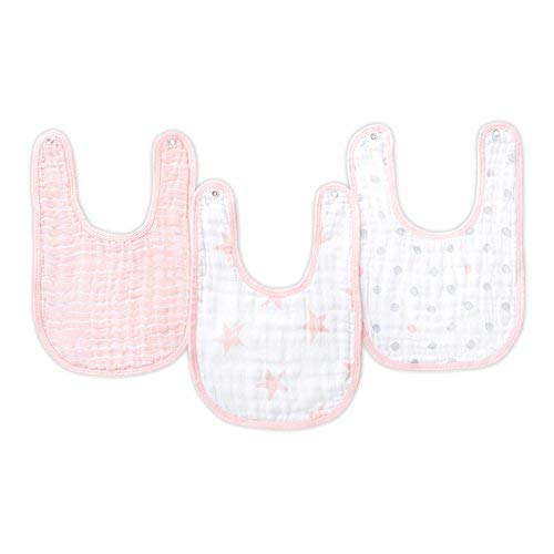 """anais Snap Bib 9/"""" X 13/"""" Soft Absorbent 3 Layers 3 Pack Adjustable Doll 100/% Cotton Muslin aden by aden"""