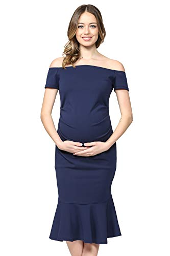 LaClef Women's Off Shoulder Maternity Midi Dress with Mermaid Hem (Navy, S) -
