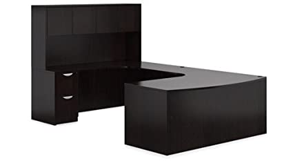 Amazon.com : U Shaped Office Desk: Bow Front Executive Desk ...