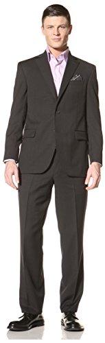 Jack Victor Studio Men's 2-Button Wool Suit, Charcoal, 40R US