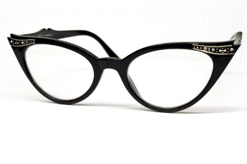 E13 Retro Cateye Clear Sunglasses Eyeglasses Rhinestone Womens Black