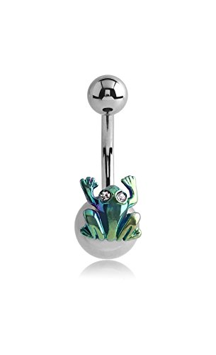 Pupick Bellybutton Ring Body Piercing Jewelry Surgical Steel Navel Banana With Anodised Jeweled Frog 14g Multiple Style