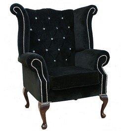 Merveilleux Designer Sofas4u Chesterfield Swarovski Queen Anne High Back Wing Chair  Black Velvet