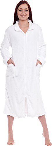Silver Lilly Women's Full Length Zip Up Robe - Plush Fleece Long Zipper Housecoat (White, XX-Large) (Flannel Robe Women Zipper)