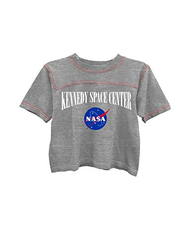 Ladies NASA Space Fashion Shirt - NASA Classic Logo Kennedy Space Center Contrast Stitch Short Sleeve Tee (Heather Grey/Red, X-Large)