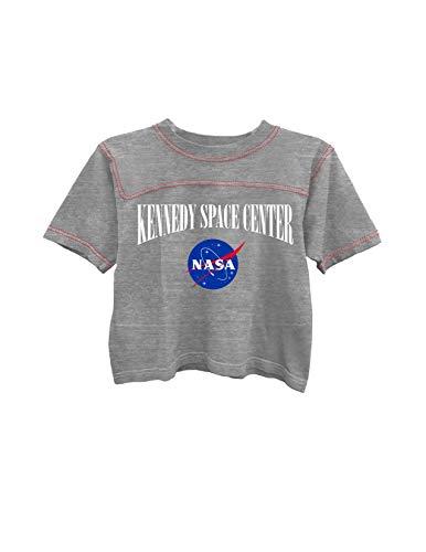 Ladies NASA Space Fashion Shirt - NASA Classic Logo Kennedy Space Center Contrast Stitch Short Sleeve Tee (Heather Grey/Red, Large) - Logo Crop