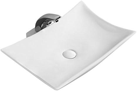Minmin 浴室のシンク楕円形の葉産業風小さな中国の芸術の洗面器洗面台レトロ上記蛇口セット付き、56.8×38×12センチ 芸術流域