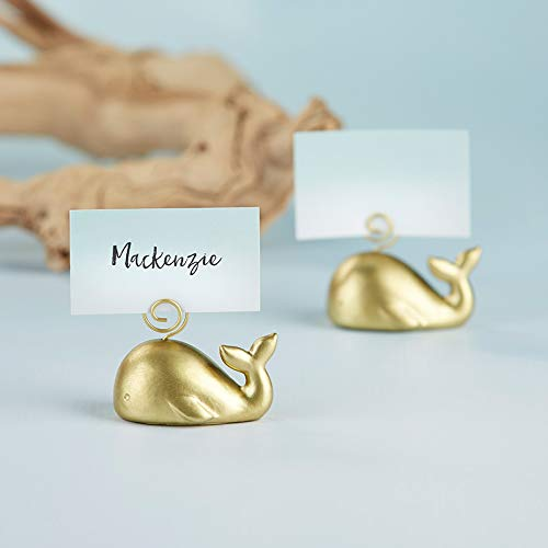 Kate Aspen Gold Whale Place Card Holder (Set of 36) - Perfect for Beach Themed Weddings, Nautical Bridal Showers, Seaside Baby Showers & More -