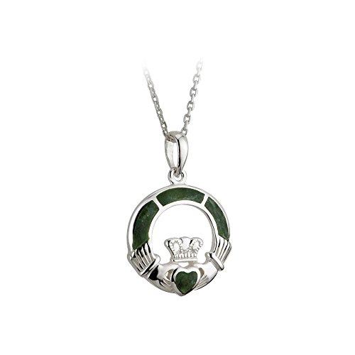 "Silver Connemara Marble - Claddagh Necklace Sterling Silver & Connemara Marble 20"" Thick Chain"
