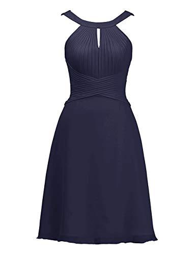 Asbridal Robe De Demoiselle D'honneur Courte En Mousseline De Soie Dos Ouvert Une Marine Robe De Retour À La Maison Longueur Genou Ligne Bleue