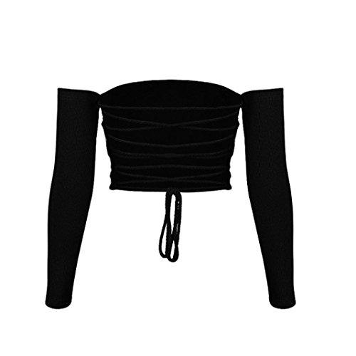 superior hombro del fuera manga Tops para negro mujeres Camiseta Moda chaleco tanque Crop mujer VENMO de casual tirantes de larga blusa 1BBwzO7q