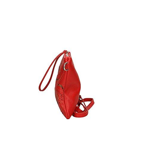 Italie véritable en Petit Chicca 29x18x2 en Sac Clutch à main Cm Borse Femme cuir fabriqué Rouge Cwnfxzq7