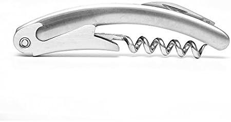 Brillibrum Juego de utensilios de camarero de acero inoxidable, cuchillo de camarero, negro y plateado, sacacorchos, juego con grabado personalizado (grabado hasta 20 caracteres, plateado)