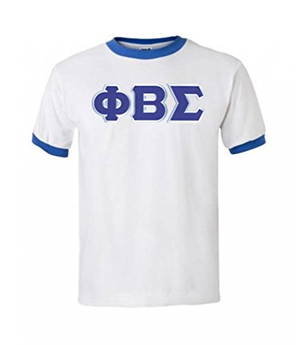 Phi Beta Sigma Fraternity Greek Lettered Ringer T-Shirt - White With Royal Blue Trim XX-Large - Phi Beta Sigma Merchandise