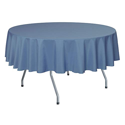 (Ultimate Textile 72-Inch Round Polyester Linen Tablecloth Periwinkle Blue)