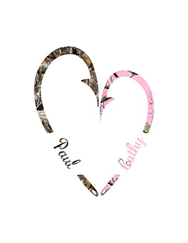 Fish Hook Heart for couples/ Camo and Pink Camo