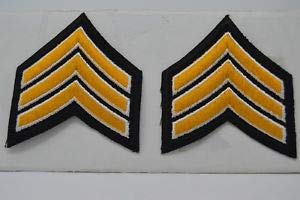 1 Pair SGT. Sergeant Police Security Chevrons Stripes Patch Gold On Black by HighQ Store