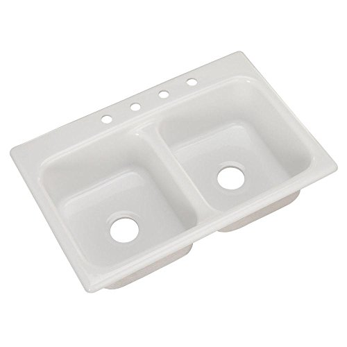 Thermocast Beaumont 33 In. x 22 In. Cast Acrylic Double Bowl Kitchen Sink, White