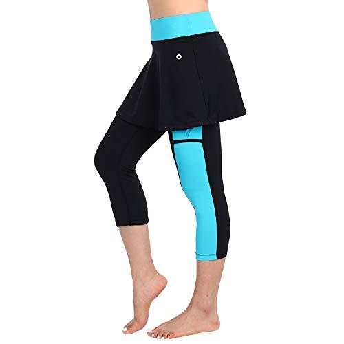 Skirted Legging for Women, Women Skirted Capri Leggings Tennis Pants with Phone and Ball Pockets& Swimming Capri Skirted Leggings(SkyBlue,M-Pockets) ()