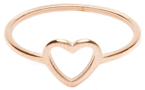 Gold Open Heart Ring (Heart Ring in Rose Gold | Delicate Ring Stainless Steel Jewelry)
