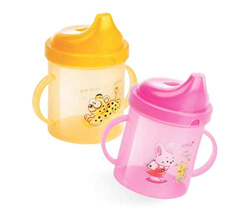 Joyful Hello Baby Plastic Sipper Cup with Double Handle (Colour May Vary, 300 ml)