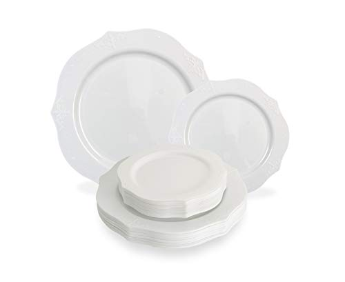 White China Plate - Posh Setting Antique Collection Combo Pack China Look White Plastic Plates,(Includes 4 Packs of 20 Plates, 40 10'' Dinner Plates and 40 7'' Salad Plates), Fancy Disposable Dinnerware
