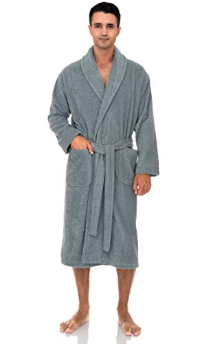 TowelSelections Men's Robe, Turkish Cotton Terry Shawl Bathrobe Large/X-Large Quarry (Pure Cotton Terry Bathrobe)
